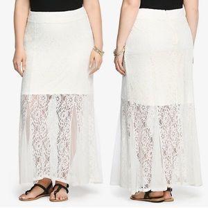 NWT Torrid Lace Mesh Godet Maxi Skirt White 1X